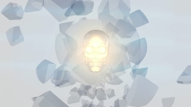 Glowing skull globe made up of broken glass Glowing skull globe made up of broken glass ghost icon stock videos & royalty-free footage