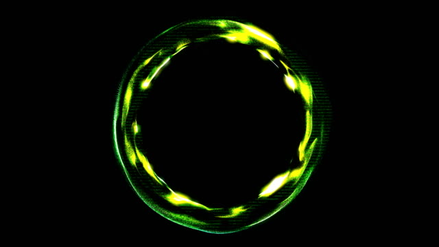 Glowing spiral ring. Abstract digital background video
