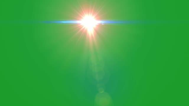 녹색 화면 배경빛나는 별 모션 그래픽 - 렌즈 플레어 스톡 비디오 및 b-롤 화면