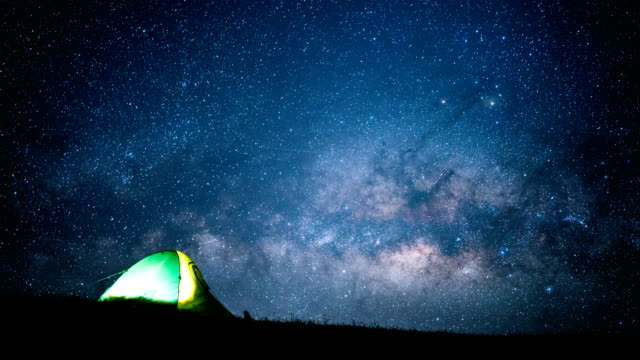 Glowing tent under a milky way time lapse. video