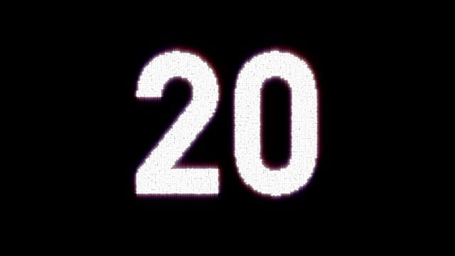 incandescente timer conto alla rovescia con le palpebre cifre da - 30 34 anni video stock e b–roll