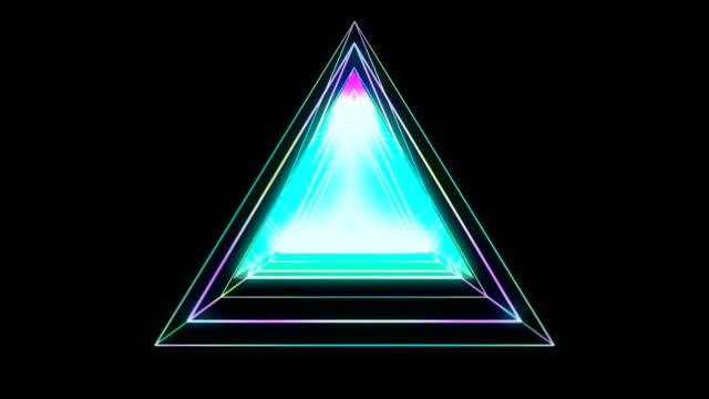 glödande triangulär looping 3d geometriska ui form - pyramidform bildbanksvideor och videomaterial från bakom kulisserna