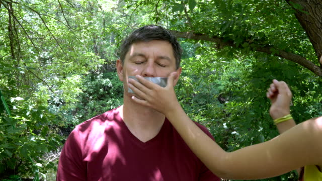 Glued Taped Mouth video