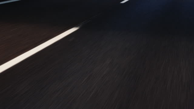 Go on a magnificent highway, the asphalt and road markings are moving fast video