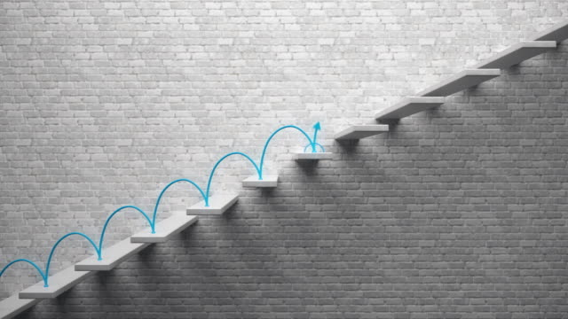 Go up concept, Career ladder, Blue arrow climbing and descending the stairs.