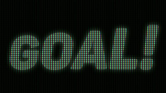 vídeos de stock e filmes b-roll de goal animation on the led scoreboard screen - campeão soccer football azul