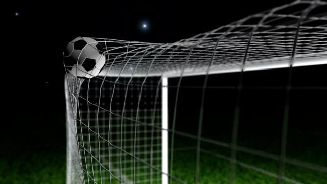 ziel-fußball/fußball in netto - netzgewebe stock-videos und b-roll-filmmaterial