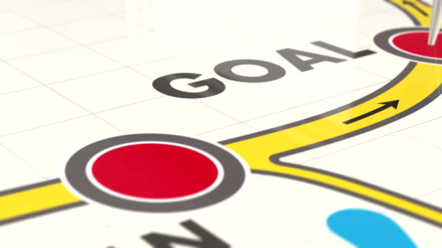 goal map and pushpin animation - viaggio su strada video stock e b–roll