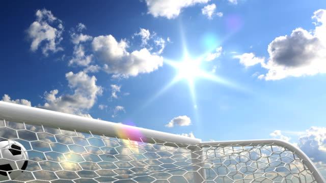 vídeos de stock e filmes b-roll de golo!!! - campeão soccer football azul