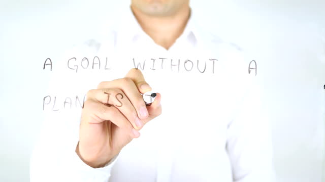 A Goal Without a Plan is Just a Wish, Man Writing on Glass video