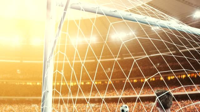 torwart nicht von einem ziel auf einem fußball-stadion zu retten, während die sonne scheint - strafstoß oder strafwurf stock-videos und b-roll-filmmaterial