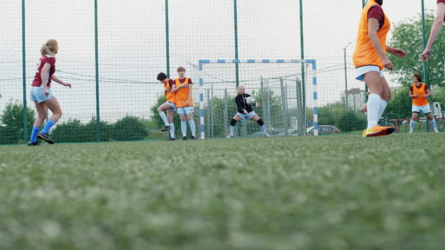 goalkeeper stopping ball near her goalpost Low section shot of goalkeeper in female soccer match catching ball on her post and celebrating it goal post stock videos & royalty-free footage