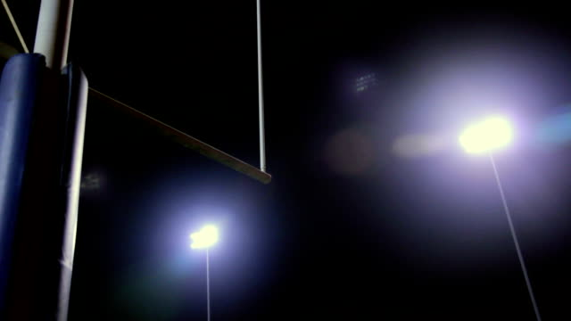 Goalpost in Stadium at Night video