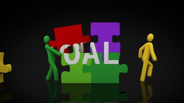 Goals puzzle. Black Background. video