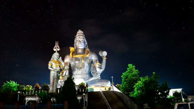 God Shiva in Murudeshwar timelapse at night video