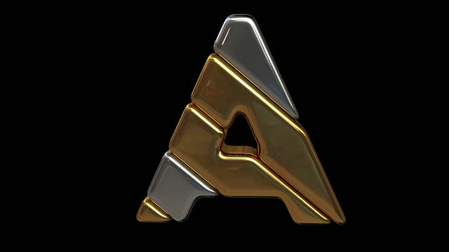 Gold and silver letter. Alpha mask. Looped animation.