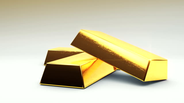 Gold Bars Fall on Ground 3 Gold bars fall in a stack. rotate around. with luma matte for isolation. gold bars stock videos & royalty-free footage