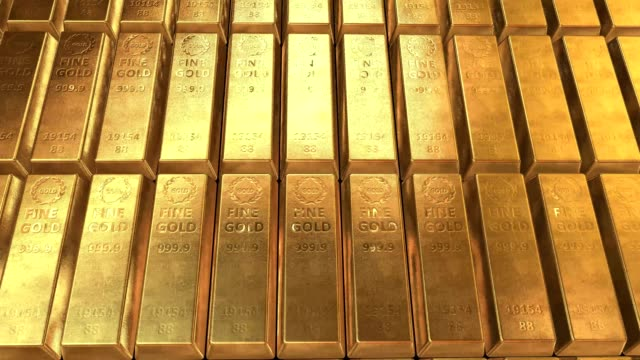 Gold bars ingots 3D video animation Gold bars moving - Looped video 4K ingot stock videos & royalty-free footage