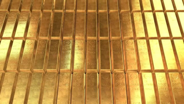 Gold bars ingots 3D video animation Gold bars moving - Looped video 4K gold bars stock videos & royalty-free footage