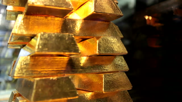 Gold Bars Pile of 400 ounce - 12,44 kg gold bars gold bars stock videos & royalty-free footage