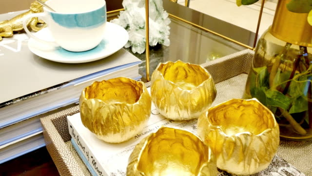 gold bowls in luxury living room video