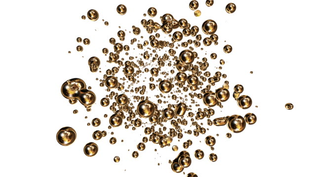 Gold bubbles Gold bubbles on white background. Alpha Matte included.  cooking oil stock videos & royalty-free footage