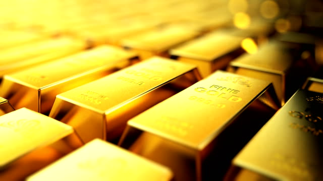 Gold bullion. Seamless looping motion of stacks gold bullion. gold bars stock videos & royalty-free footage