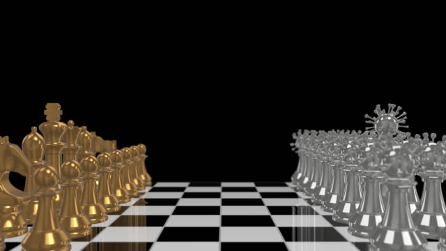 Gold chess and Bacteria virus on boardgames. Concept Business coping, strategy, planning and Crisis Management form Coronavirus.  Animation 3D Rendering with Alpha channel background for fixing