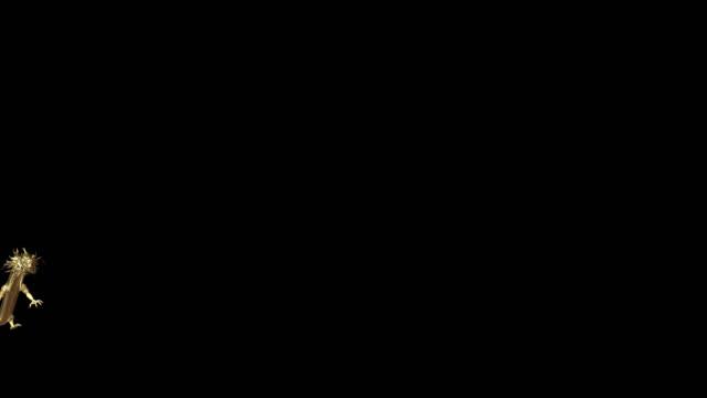 złoty chiński smok przejść do kamery z animacji renderowania 3d obejmują ścieżkę alfa. - smok postać fikcyjna filmów i materiałów b-roll