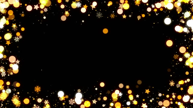 Gold Christmas snowflakes frame background for overlay looped