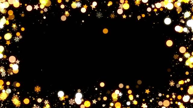 stockvideo's en b-roll-footage met gouden kerst sneeuwvlokken frame achtergrond voor overlay lus - kaderrand
