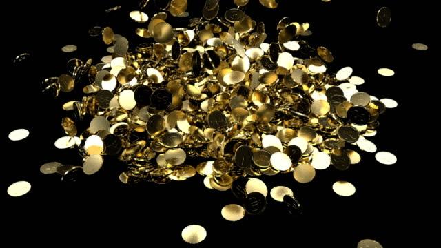goldmünzen dollar yen euro fallen in einem haufen 4k - bling bling stock-videos und b-roll-filmmaterial