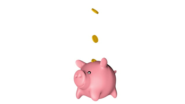 Gold coins falling into the Piggy banks .Growing investment concept. Loop