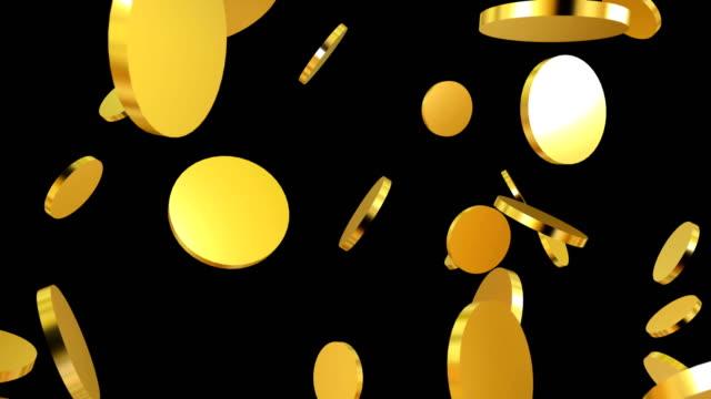 gold coins falling on black. beautiful looped animation.animation with optional luma matte. alpha luma matte included. 4k video - монета стоковые видео и кадры b-roll