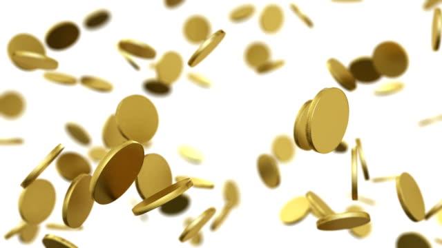 золотые монеты падающие на белый. петли анимация с dof. - монета стоковые видео и кадры b-roll