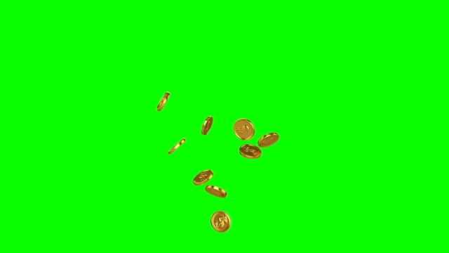 Gold coins flying up from the bottom bursting at the end. Gold coins flying up from the bottom bursting at the end. Animation on a green background coin stock videos & royalty-free footage