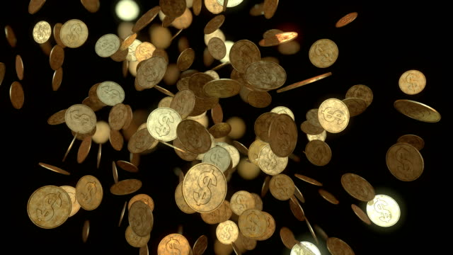Gold coins on black background video