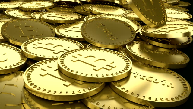 Gold coins with the symbol of the digital crypto currency of bitcoin and the inscription Bitcoin are falling into a pile, 3d rendering Gold coins with the symbol of the digital crypto currency of bitcoin and the inscription Bitcoin are falling into a pile, 3d rendering bitcoin stock videos & royalty-free footage