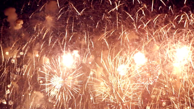 Gold Color Night Fireworks video