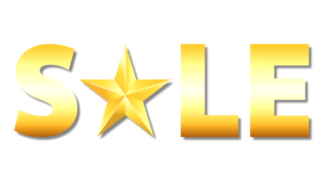 gold colored sale word with rotation star on white background