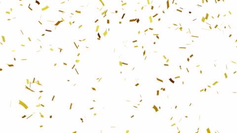 gold konfetti fallenden, alpha-kanal. - konfetti stock-videos und b-roll-filmmaterial