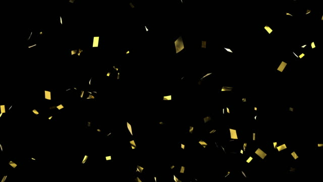 Gold confetti isolated on black
