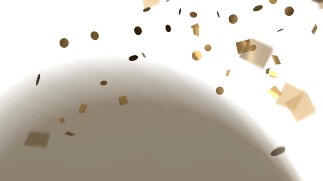 Gold confetti on white background video