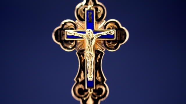 gold cross with jesus christ - communion stock videos and b-roll footage