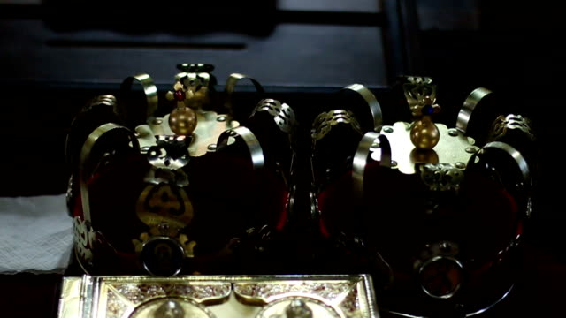Gold crowns for wedding and Bible Gold crowns for wedding and Bible religious text stock videos & royalty-free footage