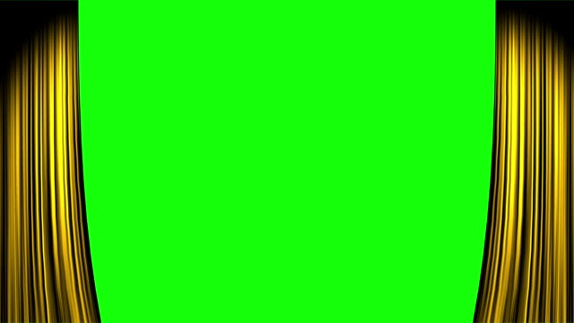 gold curtain opening both ends with green screen - sipario video stock e b–roll