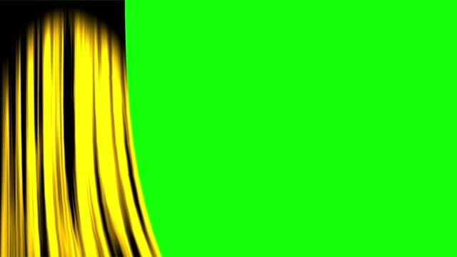 gold curtain opening left with green screen - sipario video stock e b–roll