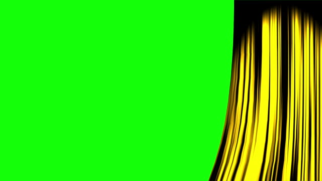 gold curtain opening right with green screen - sipario video stock e b–roll
