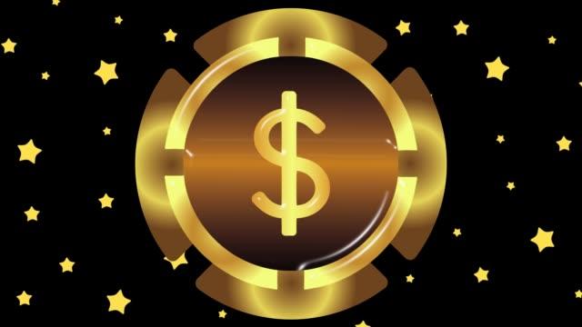 gold dollar and stars - bonus video stock e b–roll