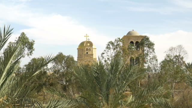 Gold Dome of Greek Orthodox Church of St John the Baptist at Bethany Beyond the Jordan video